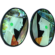 Black Plastic Inlay Iridescent Mother of Pearl Abalone Coral Lady in Hat Figural Pierced Earrings