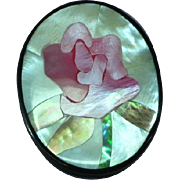 Black Plastic Inlay Iridescent Mother of Pearl Abalone Pink Rose Flower Floral Figural Pin Brooch