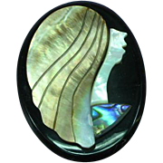 Lady Deco Figural Black Plastic  Peacock Abalone Mother of Pearl Overlay Pin Brooch