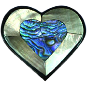Black Plastic Inlay Iridescent Mother of Pearl Abalone Heart Figural Pin Brooch