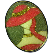 Lady Hat Figural Black Plastic Pink Composite Material Glitter Inlay Pin Brooch
