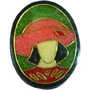 Lady Hat Figural Black Plastic Pink Red Black Composite Material Inlay Pin Brooch