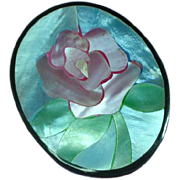 Black Plastic Inlay Iridescent Mother of Pearl Pink Rose Flower Floral Figural Pin Brooch