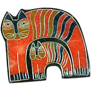 Black Plastic Inlay Composite Material Kliban Kat Cats Large Figural Pin Brooch