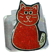 Black Plastic Inlay Red Composite Material Glitter Kitty Cat  Figural Pin Brooch
