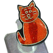 Black Plastic Inlay Composite Material Glitter Red Kitty Cat  Figural Pin Brooch