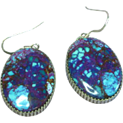 Native American Indian Azurite Cabochon Sterling Silver Signed G. Boyd Navajo Pierced Earrings