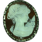 Cameo Carved Genuine Shell Sterling Silver Marcasites  Pin Brooch Pendant