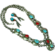 Native American Indian Small Squash Blossom Sterling Silver Turquoise Red Coral Necklace Earrings Set