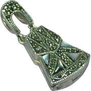 Vinaigrette 925 Filigree Sterling Silver Marcasite Mother of Pearl Opening Perfume Necklace Pendant