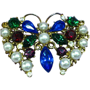 Exceptional Jewel Tone Royal Colors Rhinestones & Faux Pearl Butterfly Pin Brooch