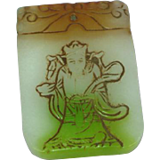Jade Carved Tri-Color Estate Find Pendant Plaque Necklace Plaque