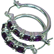 Silver Rhodium Plate Gorgeous Purple Amethyst Glass Hoop Pierced Earrings