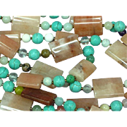 Native American Indian Natural Gemstones 4 Strand Sterling Necklace