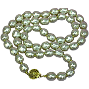 PRISTINE! Miriam Haskell Signed Single Strand Glass Baroque Faux Pearl Necklace