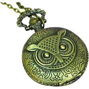 Brass Costume Wise Owl Pocket Watch Necklace