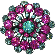 High End Fuchsia and Baby Blue Rhinestone Japanned Dimensional Pin Brooch