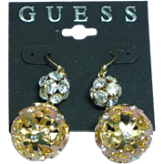 Guess MOC Rhinestone Long Large Drop Dangle Pierced Earrings