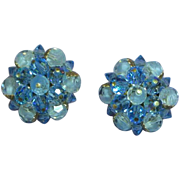 Laguna Signed Austrian Crystal Clip Two Tone Blue Button Earrings