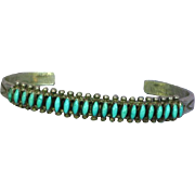 Native American Indian Zuni Sterling Silver Turquoise Needlepoint Cuff Bracelet
