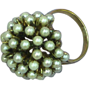 14K Yellow Gold Seed Pearl Dome Pearl Cluster Cocktail Ring
