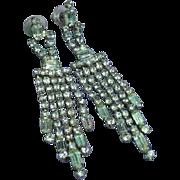 Radiant Rhinestone Spectacular Crystals Long Dangle Chandelier Pierced Earrings