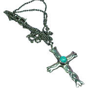 Native American Sand Cast Sterling Silver Turquoise Cross Necklace