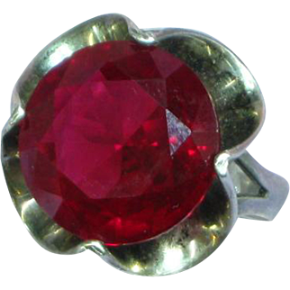 Mexican Mexico Chunky Red Stone Large Sterling Silver Ring