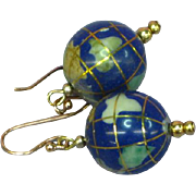 World Globe Bead Lapis Lazuli Inlay Gemstone Drop Dangle Gold Filled Pierced Earrings