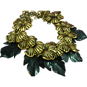 Huge! Antiqued Gold Flower and Carved Galalith Leaves Runway 1970s Haute Couture Statement Necklace