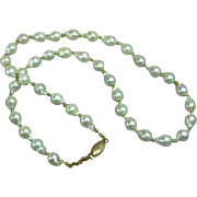 Creamy White  6mm Cultured Pearl w/ 14K Clasp Sweetheart Vintage Necklace