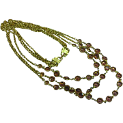 Swarovski Triple Strand Bezel Set Citrine Crystal Vintage Long Necklace
