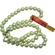 Creamy White 8 mm Cultured Pearls w/ 14K Yellow Gold Clasp Original Tag Vintage Necklace