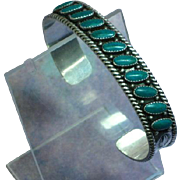 Native American Indian Sterling & Turquoise Cuff Bracelet