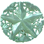 Carved Mother of Pearl Star of Bethlehem Pin Brooch