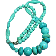 Turquoise Multi Size Carved Beads with Sterling Silver Clasp Fashion Runway Necklace
