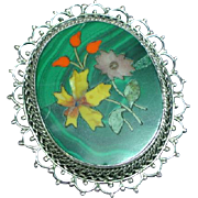 Genuine Gemstone Pietra Dura Sterling Silver Brooch Pendant