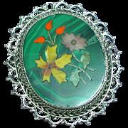 Genuine Gemstone Pietra Dura Sterling Silver Brooch Pendant