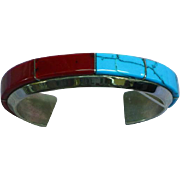 Native American Sterling Silver Zuni Turquoise Red Coral, Stacking Cuff Bracelet
