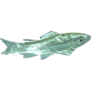 Carved Mother of Pearl Fish Figural Pin Brooch