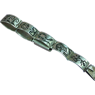 Native American silversmith Gene Pooyouma Vintage Heavy Hopi Sterling Silver Overlay Segmented Panel Bracelet