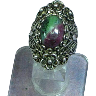 Russian Eudialyte Stone Sterling Silver Hand Crafted Filigree Ring