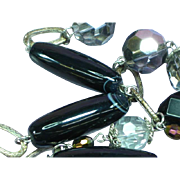 Magnificent HUGE Vintage 1960's Crystal Bead & Black Banded Agate Long Necklace