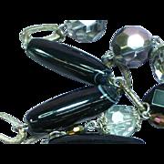 Magnificent HUGE Vintage 1960's Crystal Bead & Black Banded Agate Long Necklace