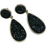 Black Glass Rhinestone Large Dangle Pierced Earrings