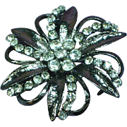 Rhinestones Black Enamel Large Flower Pin Brooch