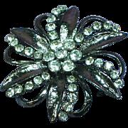 Rhinestones Black Enamel Large Flower Pin Brooch