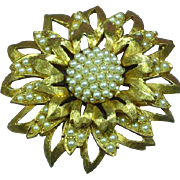 Rich and Elegant GoldTone and Faux Pearl Large Layered Brooch Pin