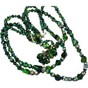 Amazing Vendome Triple Strand Emerald Green Crystals Rhinestones Art Glass Bead Necklace Earrings Set