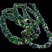 Amazing Vendome Triple Strand Emerald Green Crystals Rhinestones Art Glass Bead Necklace Earrings Set
